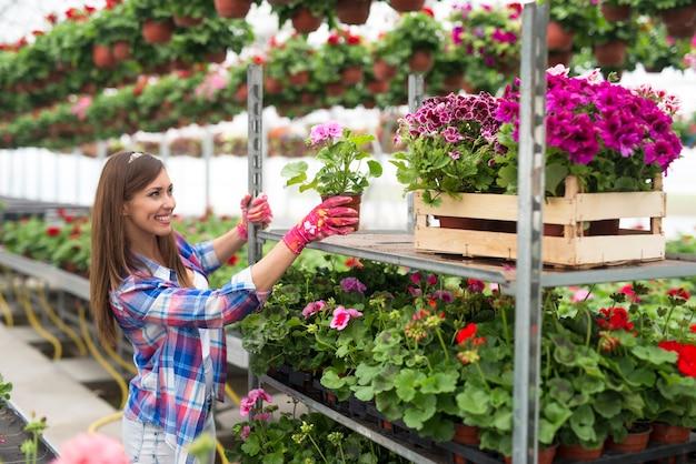 フラワーショップで働く女性の花屋 無料写真