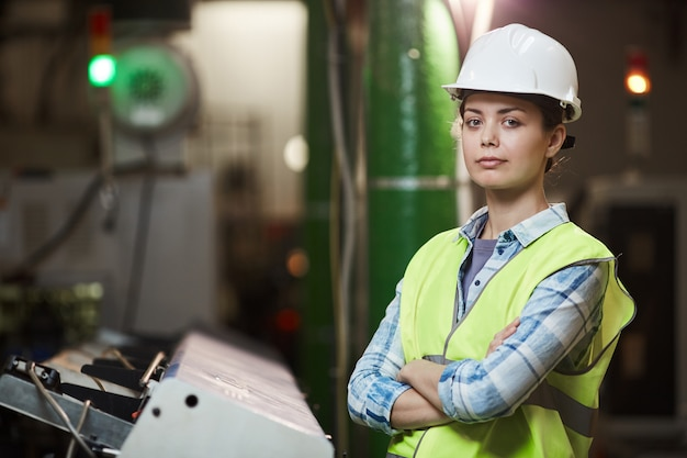 Female foreman in the plant Premium Photo