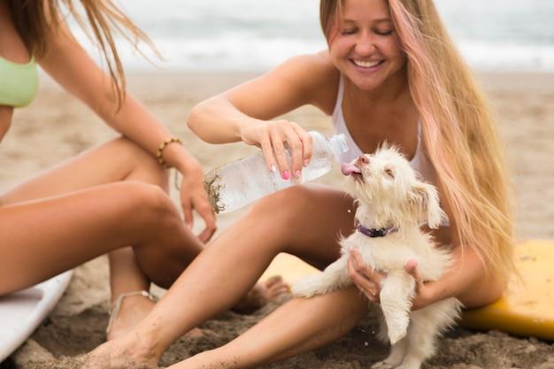 Подруги на пляже, давая собаке воду Бесплатные Фотографии