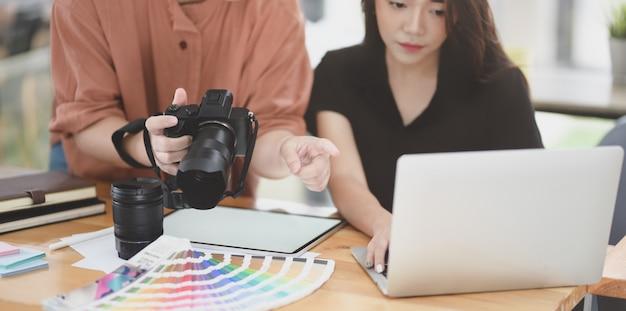 Female graphic designer team discussing the project Premium Photo
