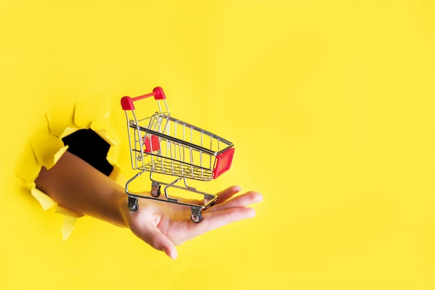 Female hand holds through a hole a mini grocery shopping trolley on a yellow paper. sales concept Premium Photo