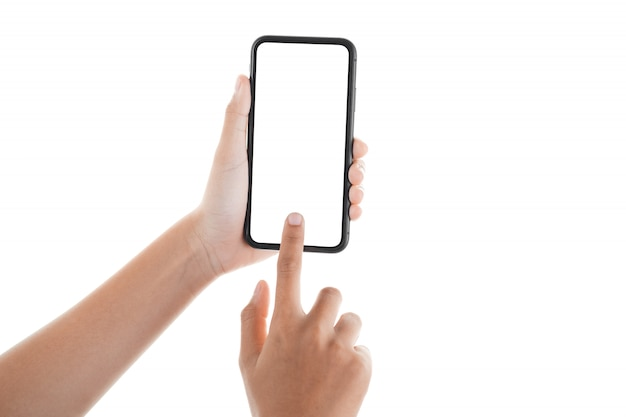 Female hand touching the screen of a smartphone Premium Photo