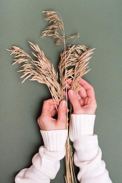 女性の手は、緑の背景に乾いた草の耳に優しく触れます。垂直方向のビュー Premium写真