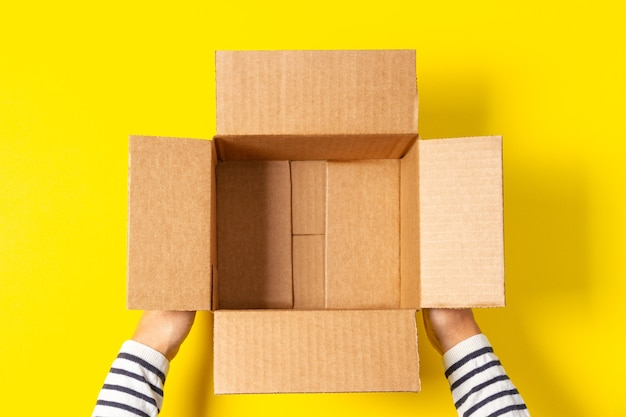 Женские руки с пустой открытой картонной коробкой Premium Фотографии