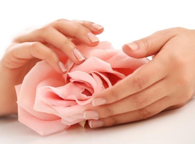 Женские руки с розовой розой. концепция женственности Бесплатные Фотографии