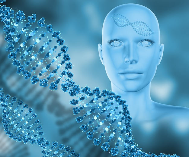 Female head and dna strands Free Photo