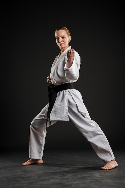 Female karate fighter performing Free Photo