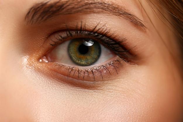 Female left emerald green coloured eye extreme closeup Premium Photo
