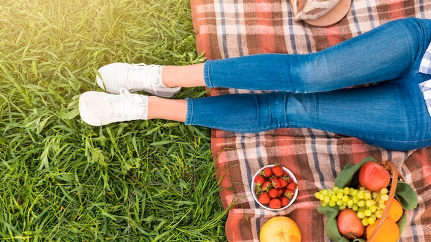 Female legs on picnic blanket Free Photo