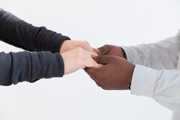 Female and male hands holding together Free Photo