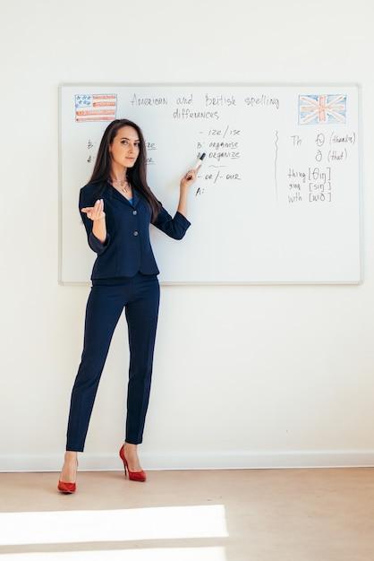 화이트 보드에 프리젠 테이션을 보여주는 강의를주는 여성 교사 프리미엄 사진