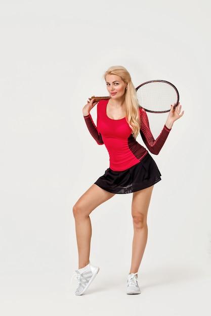 Female tennis player with tennis racket Premium Photo