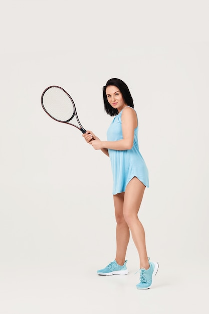 Female tennis player with tennis racket Premium Photo