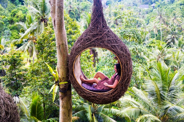 A female tourist is sitting on a large bird nest on a tree at bali island Premium Photo