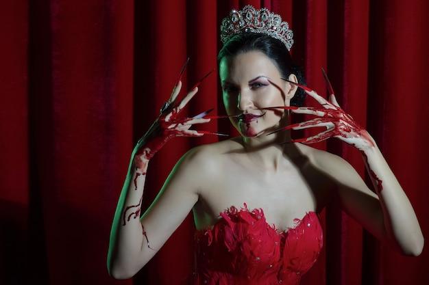 Female vamp with blood Premium Photo