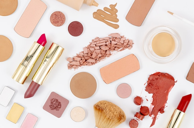 Feminine cosmetics arrangement on white background Free Photo