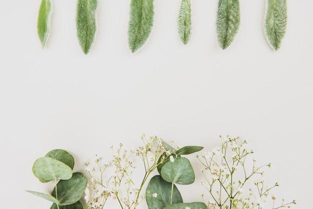 フェミニンな結婚式のスタイルのデスクトップのひな形のモックアップシーン。カスミソウの花、白い背景の上の緑のユーカリを乾燥させます。フラットレイ、トップ Premium写真