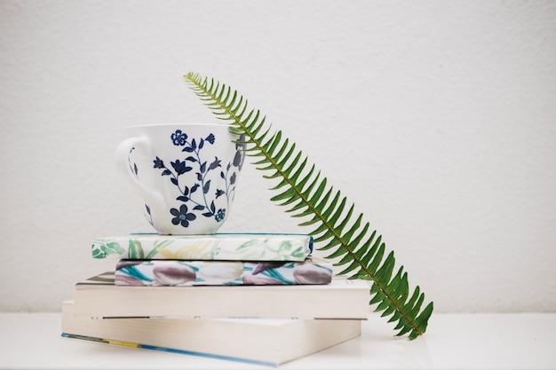 Fern leaf near cup and books Free Photo