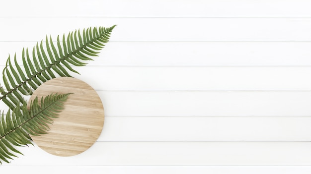 Fern leaves and circle wooden plate over white wood pannels. Free Photo