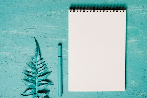 Fern leaves; pen and blank spiral notepad on turquoise textured background Free Photo