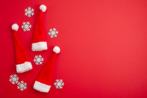 Festive christmas decoration, red santa hats Premium Photo