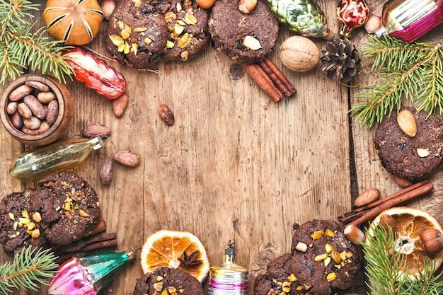 Festive cookie background Premium Photo