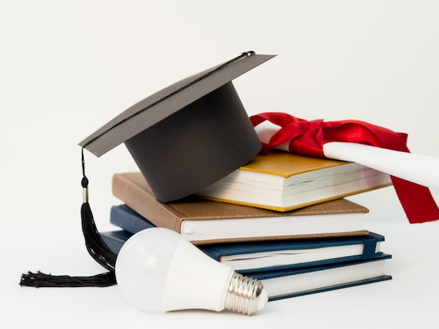 Festive graduation arrangement with books Premium Photo