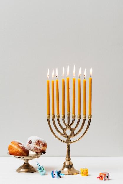 Festive hanukkah candleholder Free Photo