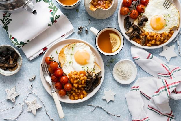 Festive holiday breakfast table flat lay food photography Free Photo