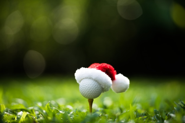 Festive-looking golf ball on tee with santa claus' hat on top for holiday season on golf course Premium Photo