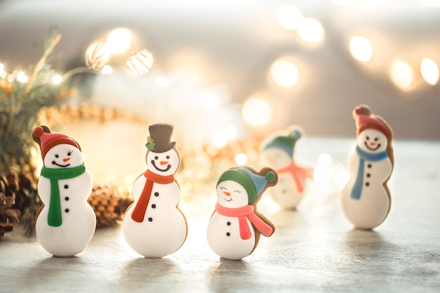 Festive new year  lights and gingerbread. Free Photo