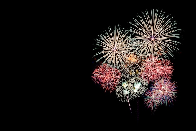 Festive patterned of colorful assorted firework bursting in various shapes sparkling picto Premium Photo