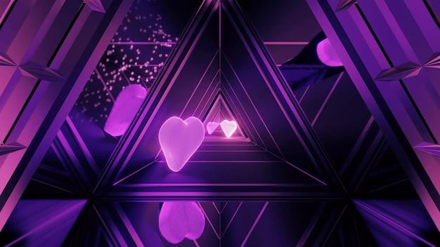 Празднично освещенная прихожая с красивыми абстрактными фиолетовыми световыми эффектами и сердечками Бесплатные Фотографии