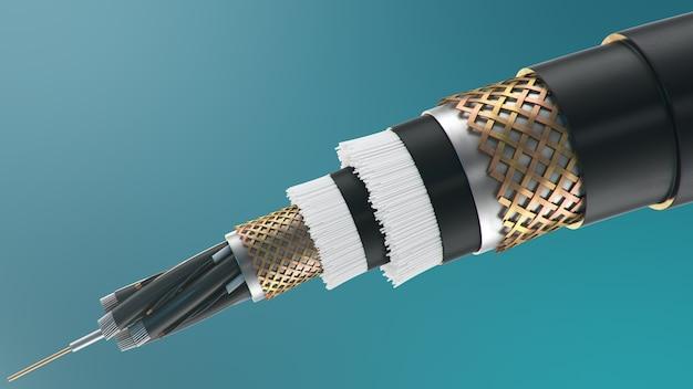 色付きの背景に光ファイバーケーブル。将来のケーブル技術。詳細なケーブル断面 Premium写真