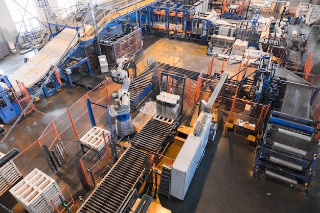 Fiberglass production industry equipment at manufacture Premium Photo