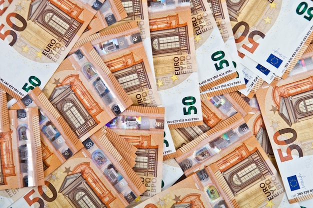 Fifty euro banknotes background Premium Photo