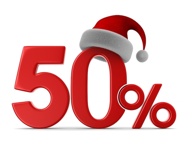 Fifty percent on white space. isolated 3d illustration Premium Photo