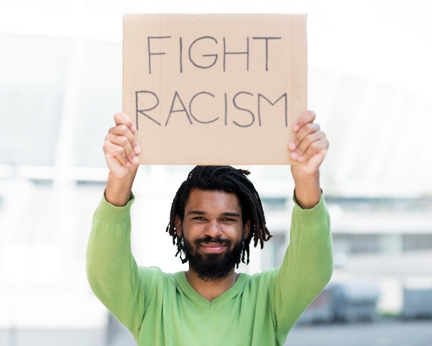 Fight racism quote black lives matter concept front view Free Photo