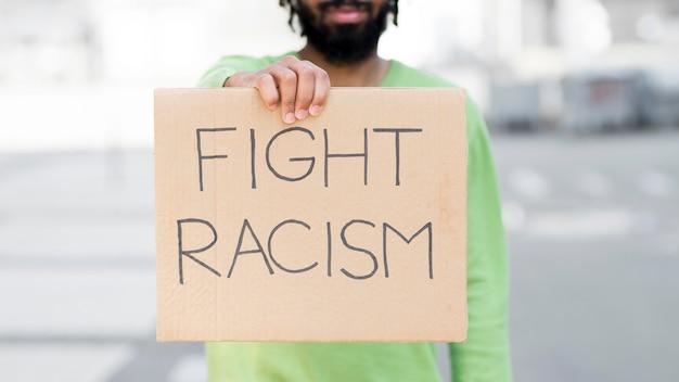 Fight racism quote black lives matter concept medium shot Free Photo