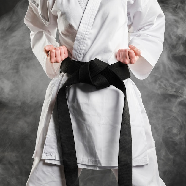 Fighter in kimono with black belt Free Photo