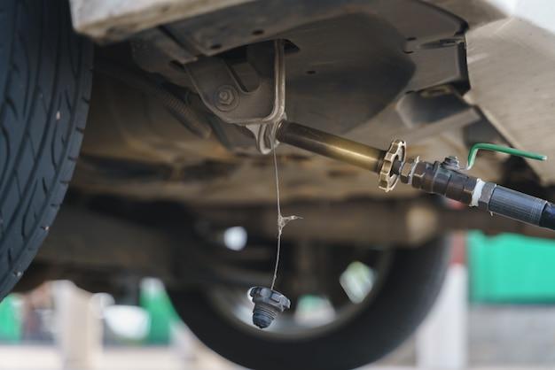 Filling autogas lpg or liquid petroleum gas Premium Photo