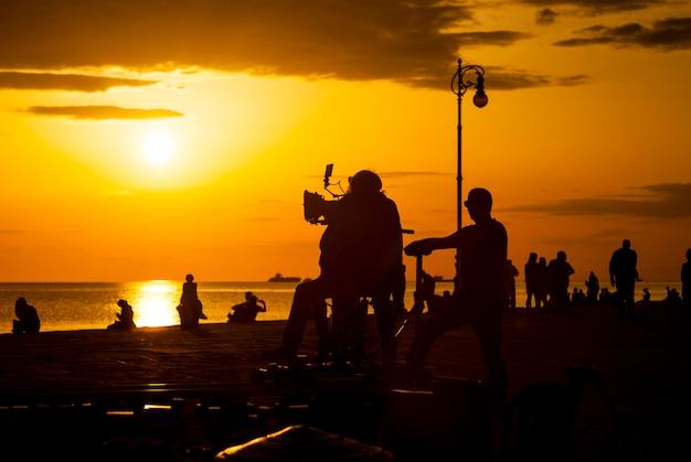 Film crew team filming movie scene Premium Photo