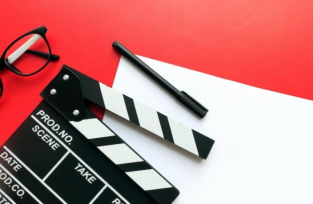 Film director's desk. top view shot Premium Photo