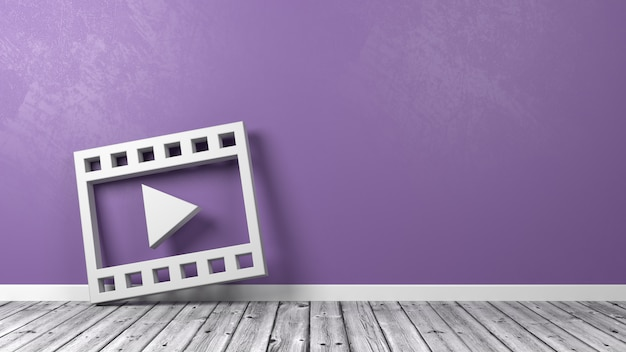 Film movie play symbol on wooden floor against wall Premium Photo