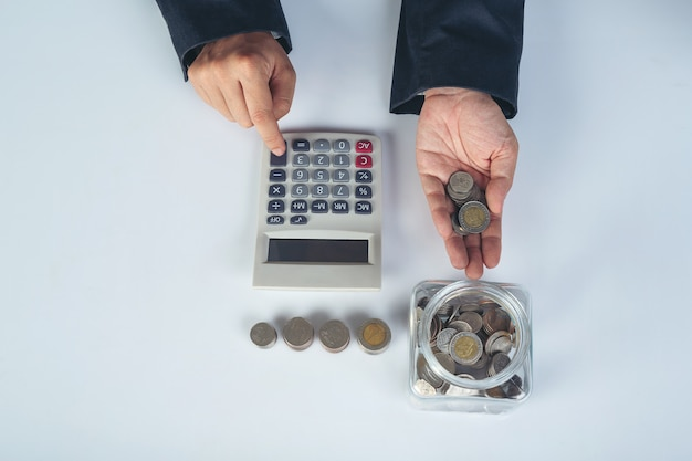 Finance and accounting concept. business woman working on desk Free Photo