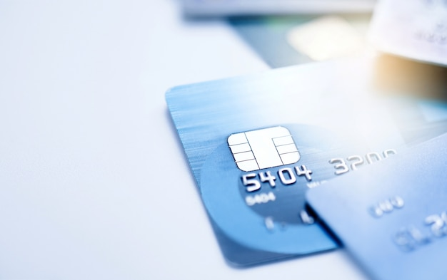 Finance concept,selective focus microchip on credit card or debit card. Premium Photo