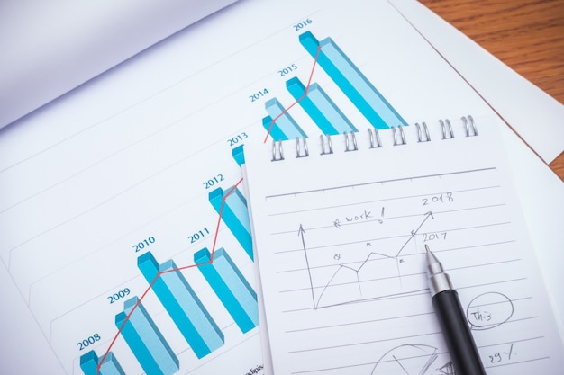 Financial charts with pencil on table Free Photo