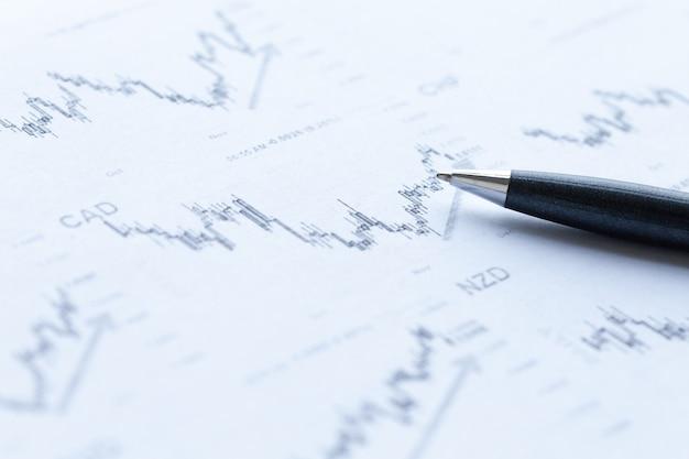 Анализ финансовых графиков и ручка. Premium Фотографии