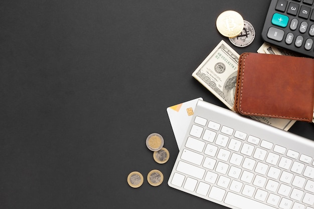 Financial instruments on desk top view Free Photo