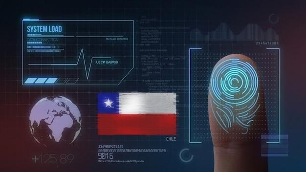 Finger print biometric scanning identification system. chile nationality Premium Photo